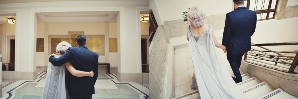 Pink haired bride silver wedding dress with cape