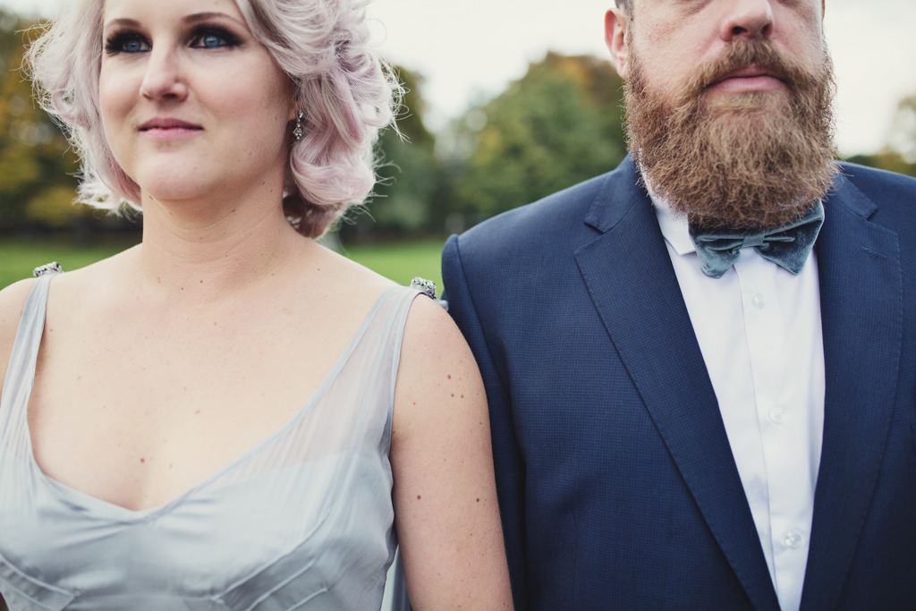 Pink haired bride, silver wedding dress