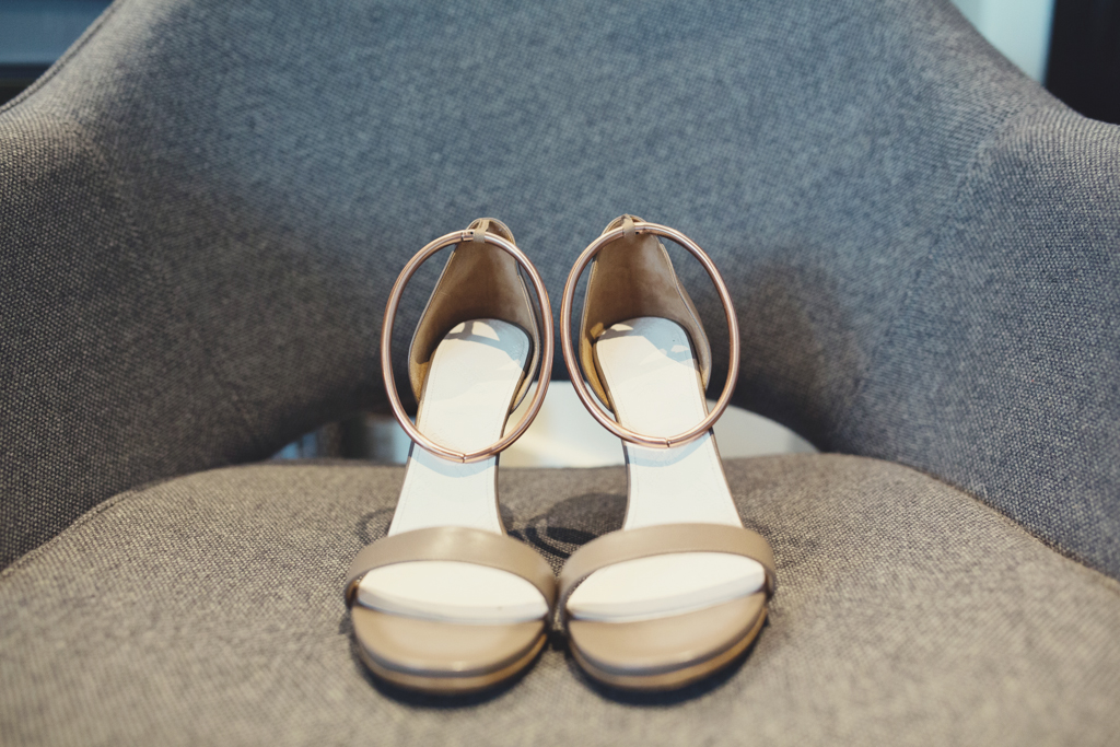 Nude sandals for bride