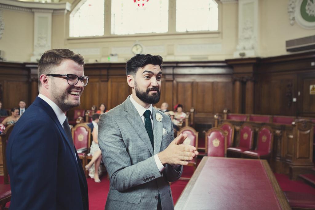 London groom awaits bride