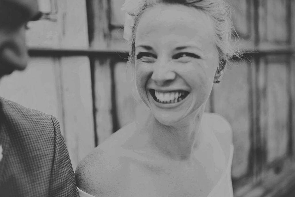 Beaming smiling bride London