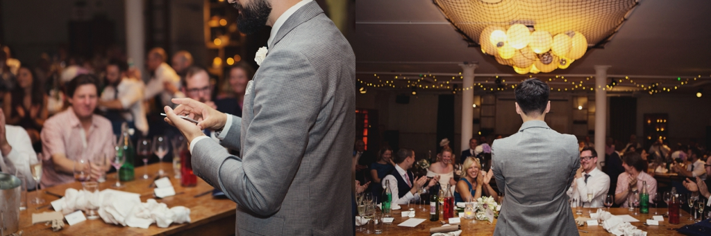 Quirky Wedding Photography of groom delivering speech
