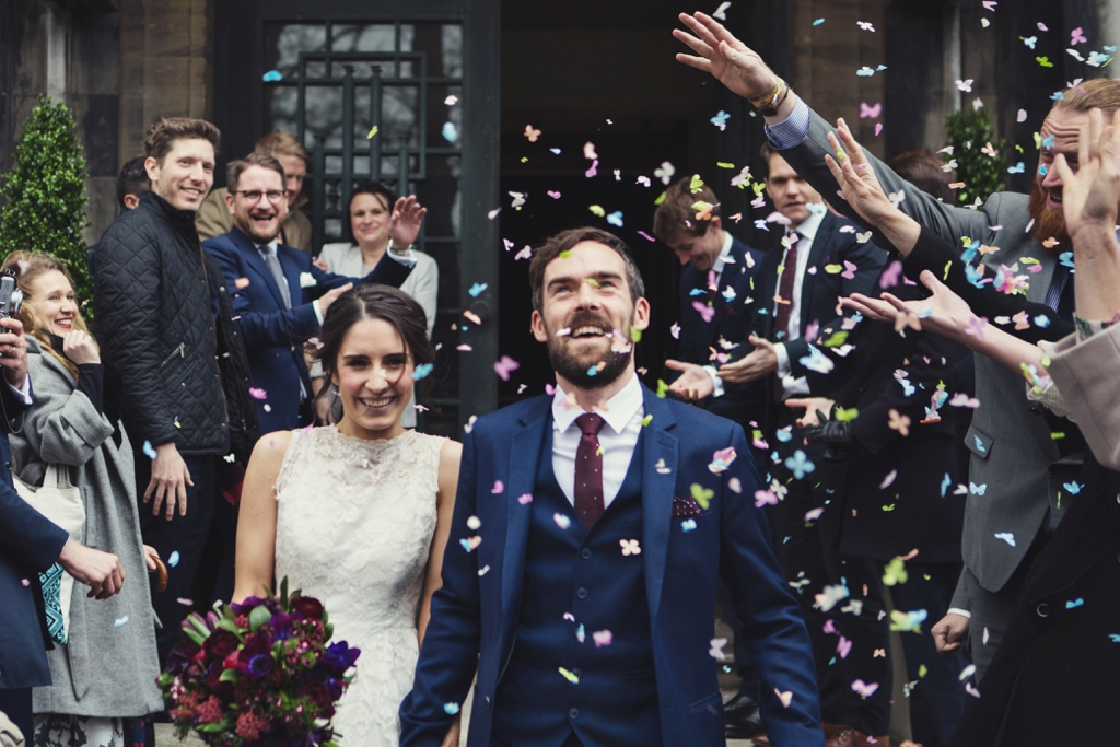 Creative confetti wedding portrait London