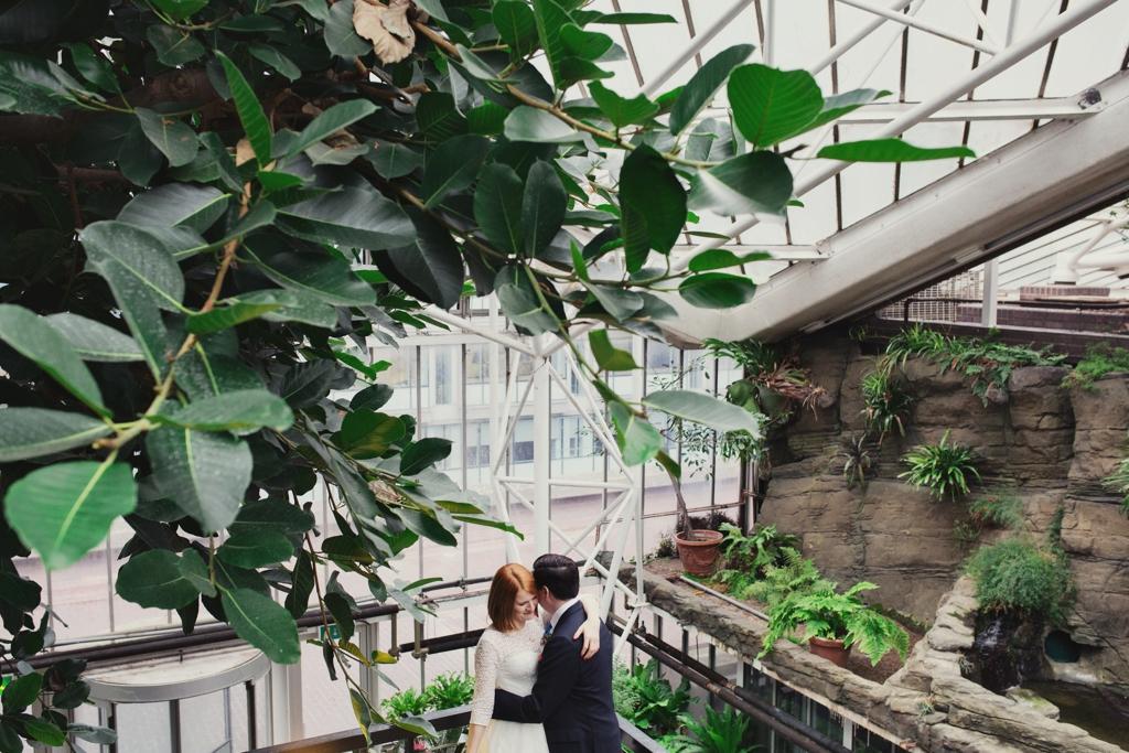 Cool winter wedding portrait at The Barbican wedding venue London