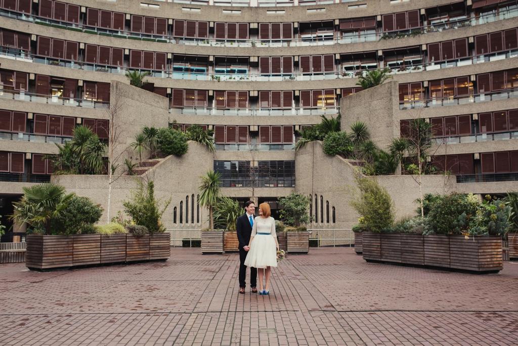 The Barbican London wedding portrait