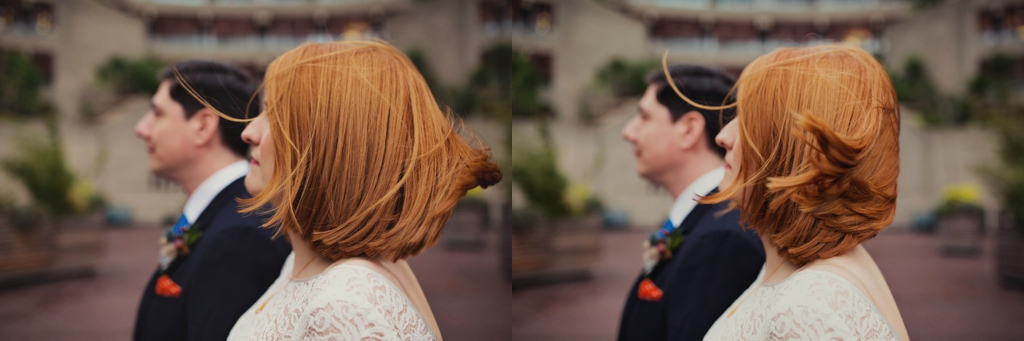 Beautiful red haired bride with groom Cool London wedding
