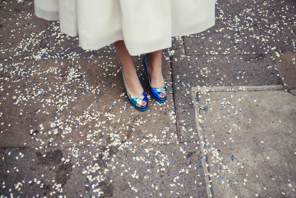 Blue bridal shoes Lisa Jane Photography London wedding