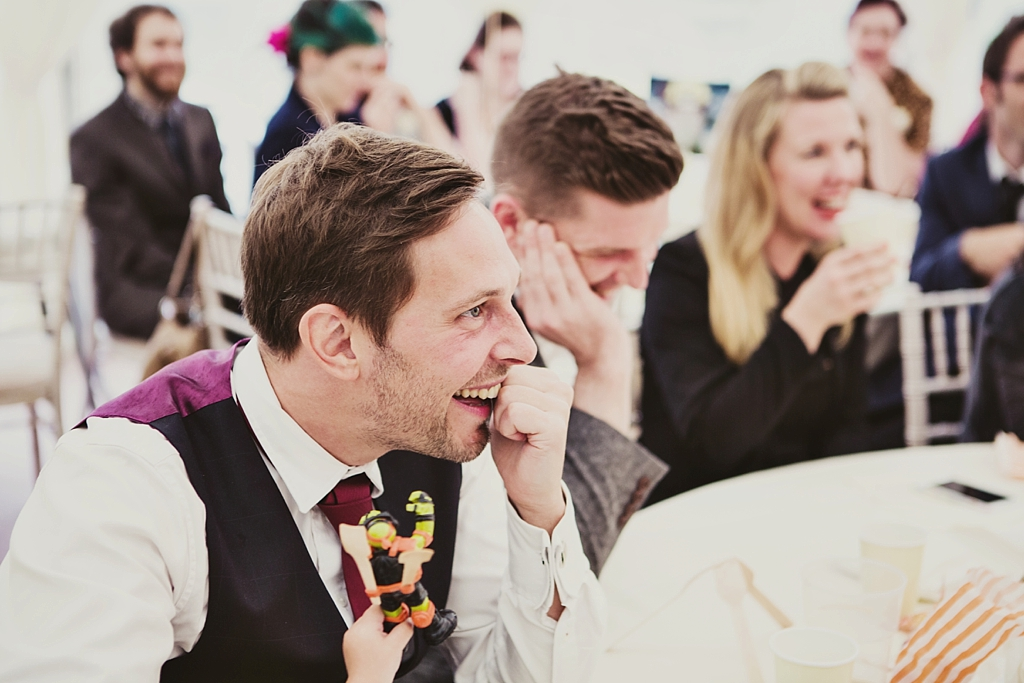 Giggles during wedding speeches Derby