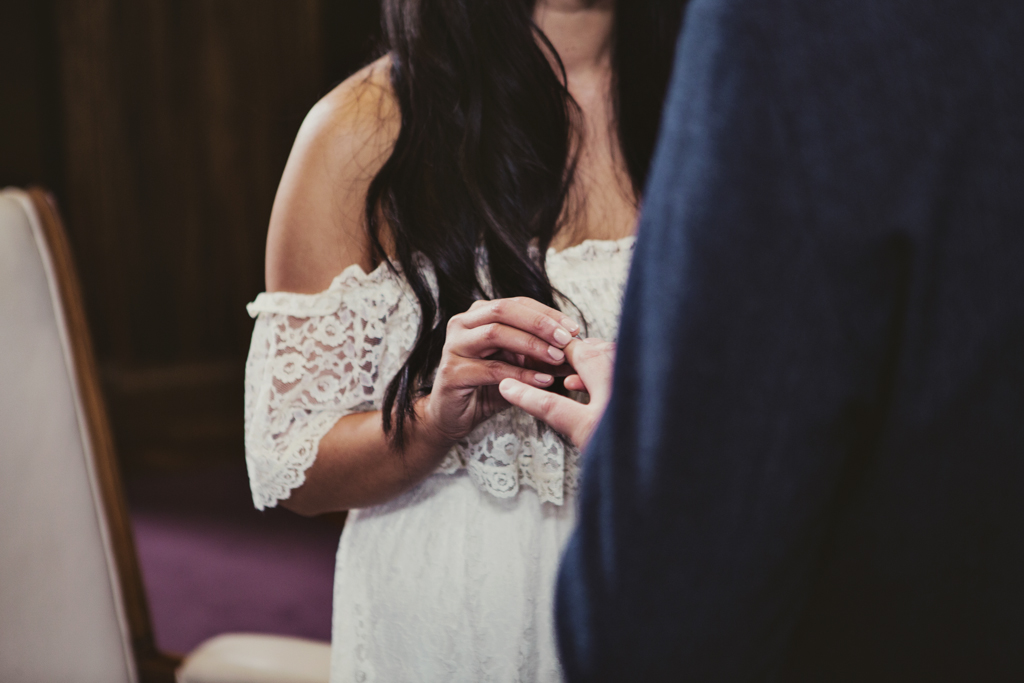 ring exhange during ceremony at Stoke Newington Town Hall wedding