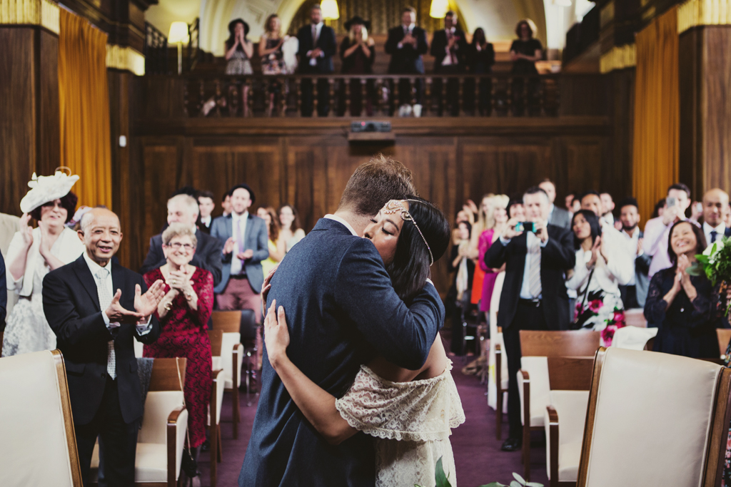 a bug during the ceremony at a Stoke Newington Town Hall wedding