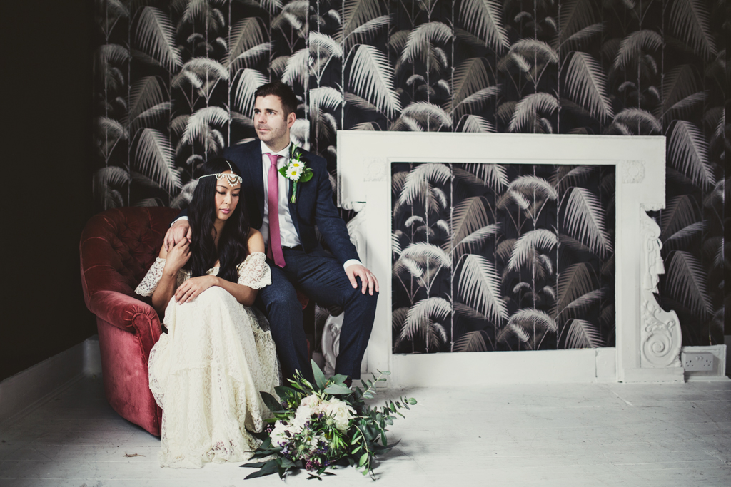 bride and groom portrait at The Roost in Hackney