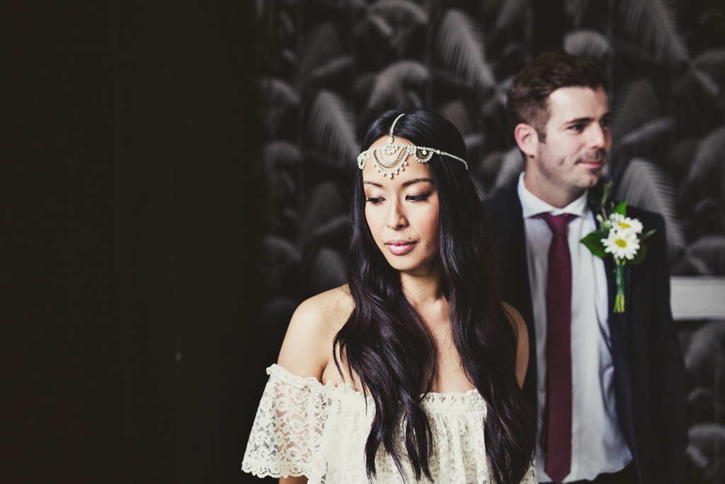 bride and groom portrait at a east london wedding