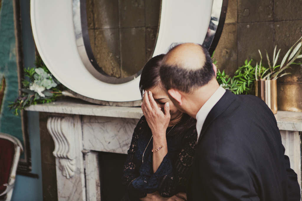 parents during the speech at an east london wedding