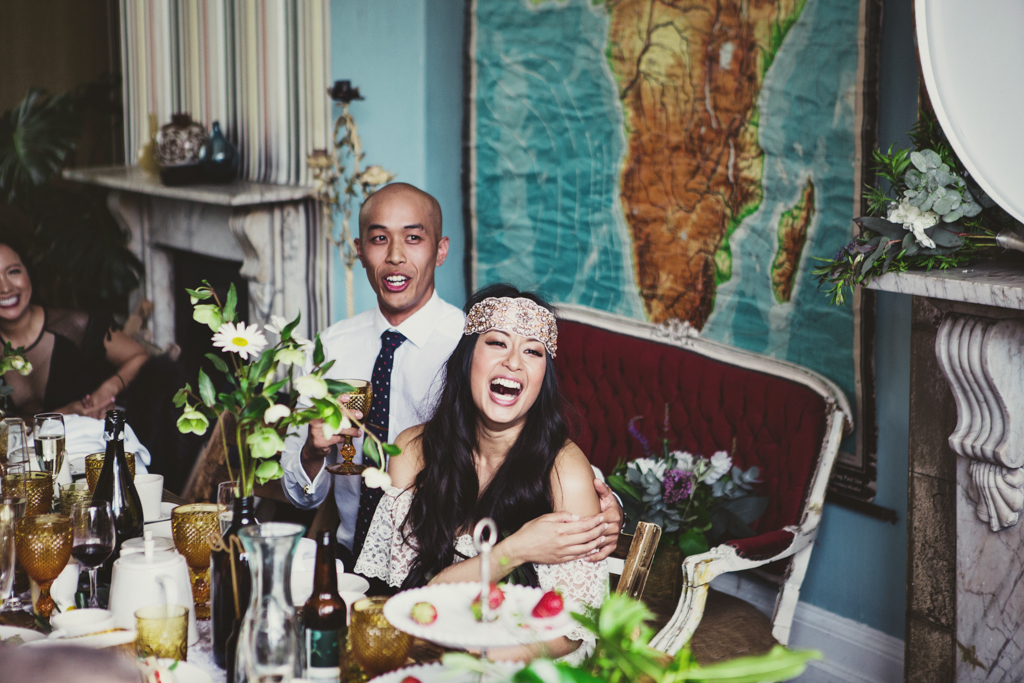 bride laughing at The Roost in London Wedding