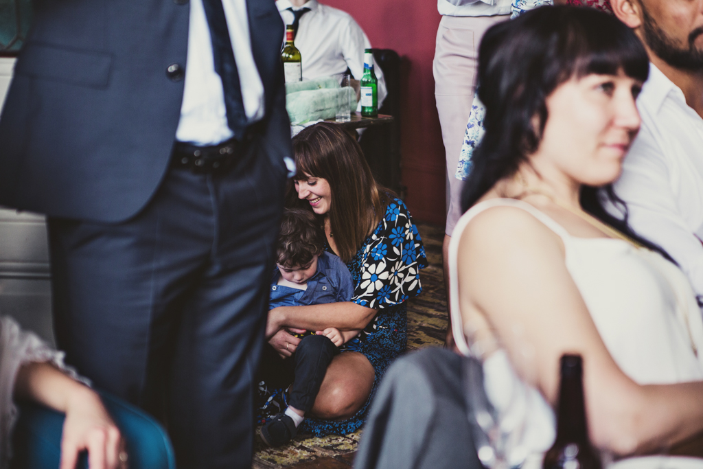 guests during a speech at a wedding at the Roost in East London