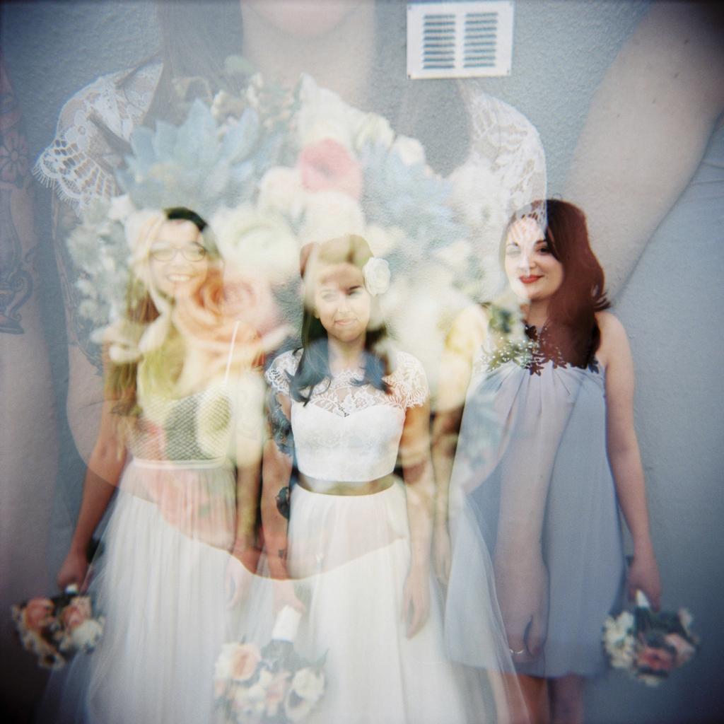 double exposure holga wedding portraits