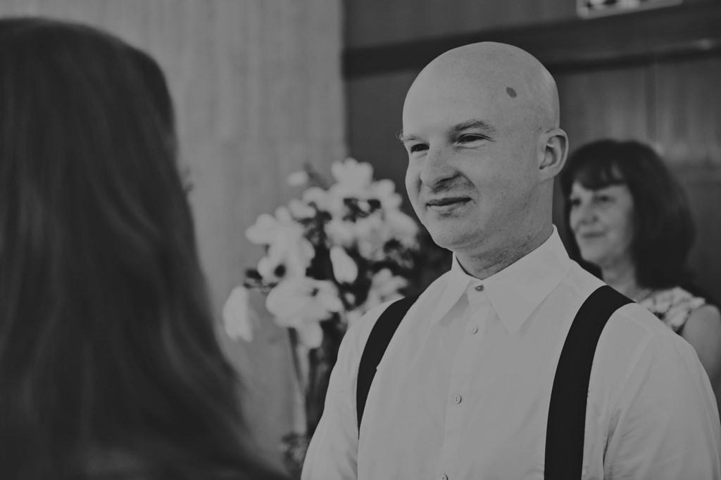 Creative wedding portrait groom at elopement wedding London