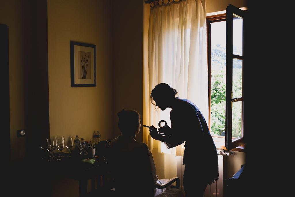 bride getting ready at an Italian destination wedding