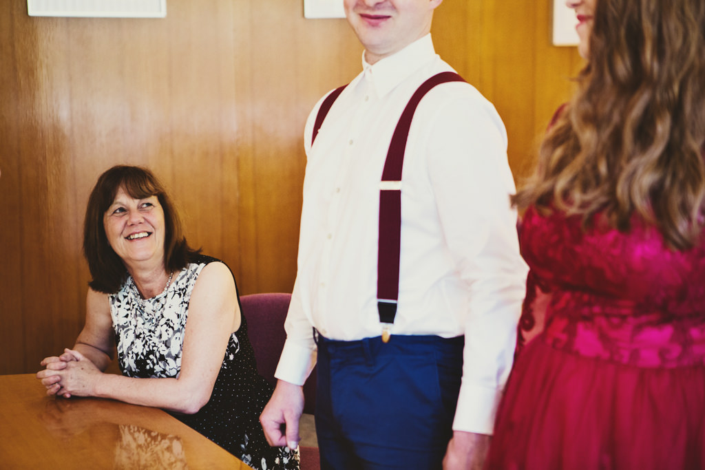 Mum with bride and groom elopement wedding photography London