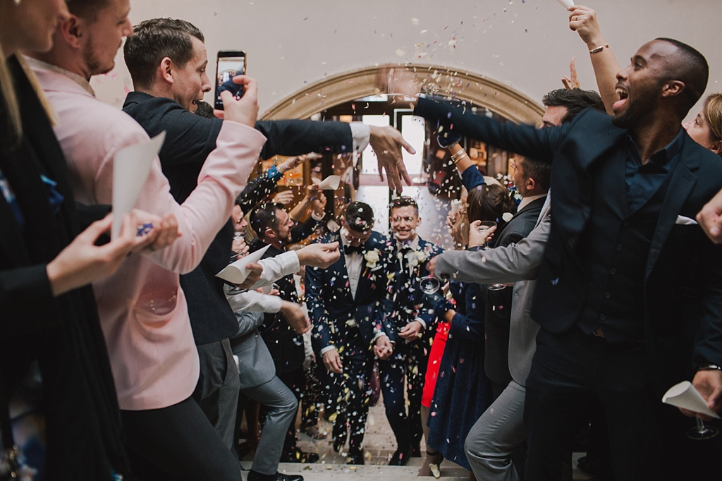 Confetti on steps of a Battersea Arts Centre Wedding by Lisa Jane Photography