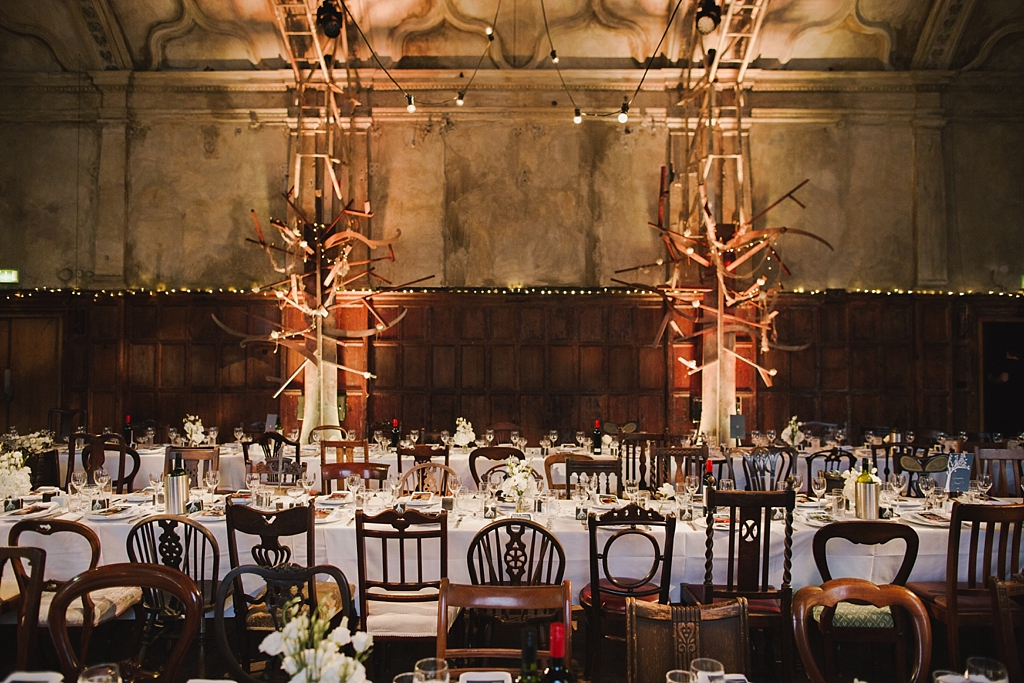 Reception set up at a Battersea Arts Centre Wedding by Lisa Jane Photography