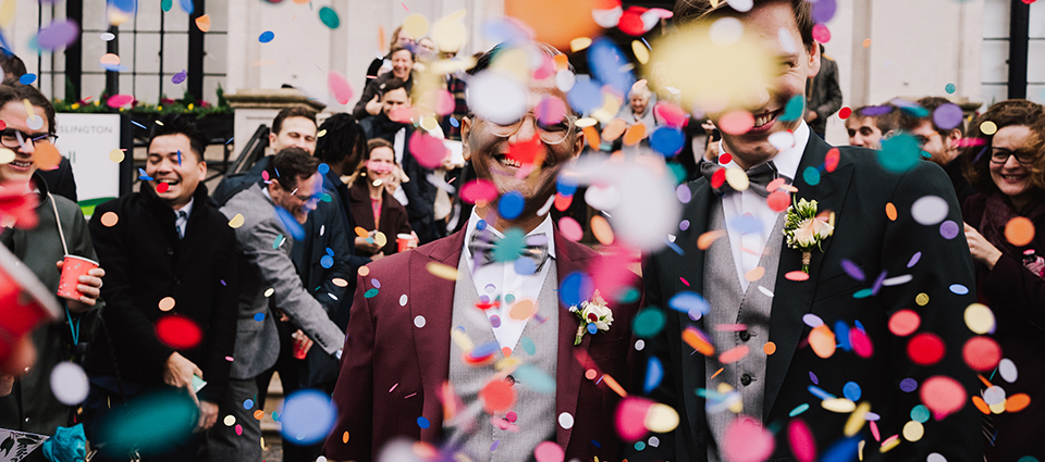 Islington Town Hall Wedding Confetti by Lisa Jane Photography