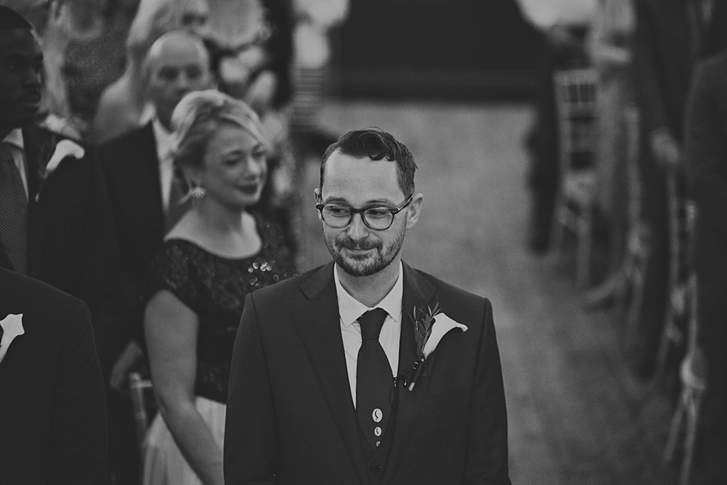 groom waiting for bride at Wiltons Music Hall