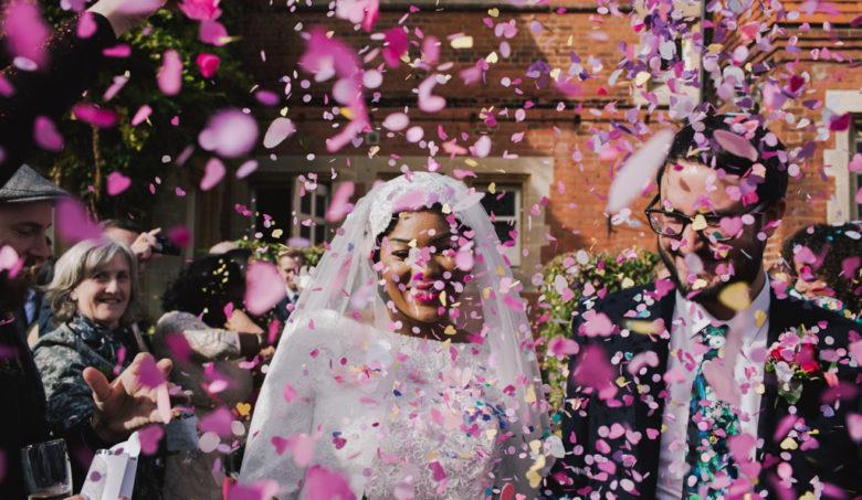 Pink confetti at London Town Hall Wedding | Lisa Jane Photography | Modern London Wedding Photography