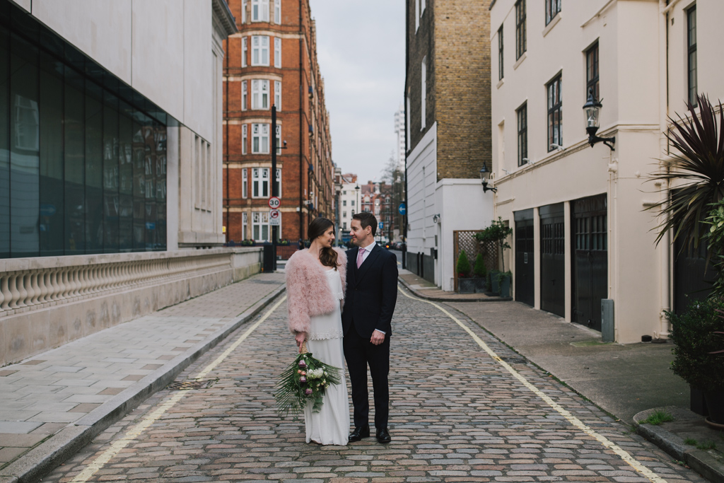 Bride and Groomon their wedding day at Marylebone Town Hall