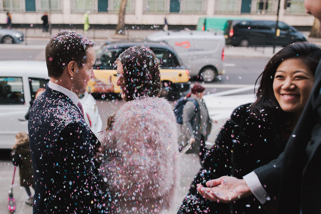 Confetti at a modern london elopement at Marylebone Town Hall