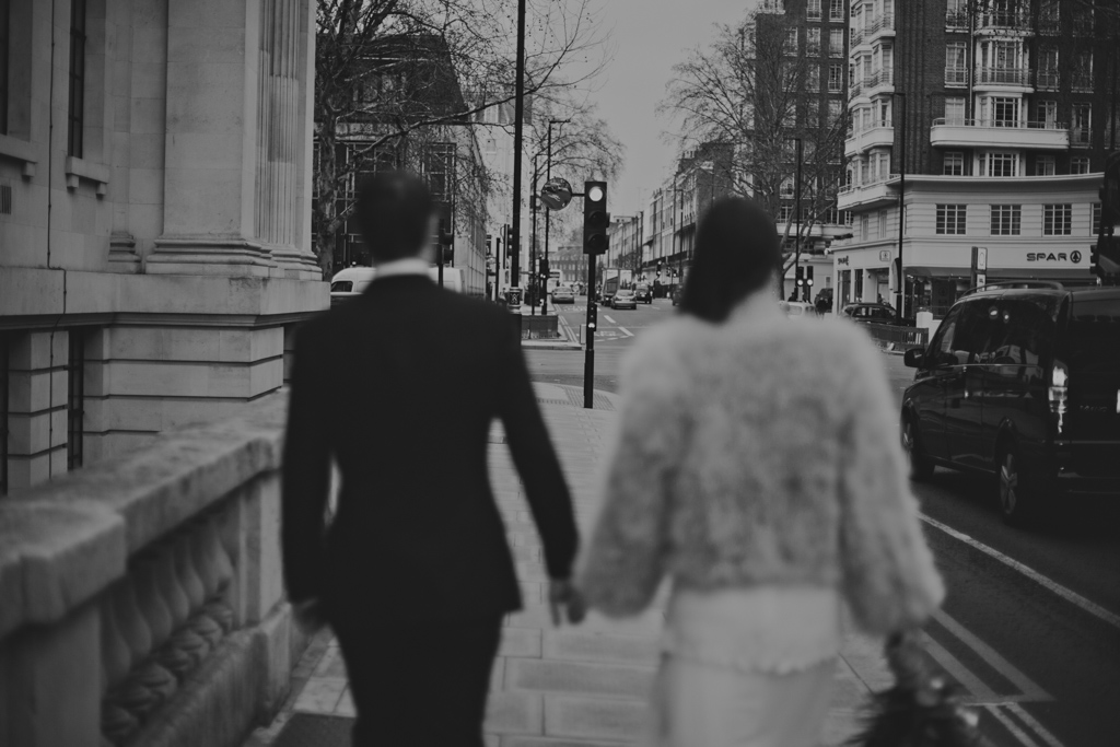 Bride and Groom walking to Marylebone Town Hall Elopement