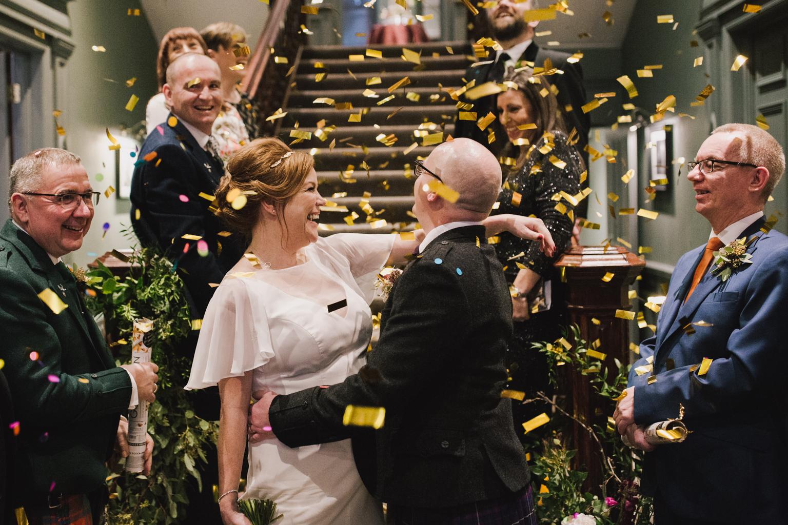 confetti canon at One Devonshire Gardens Glasgow wedding