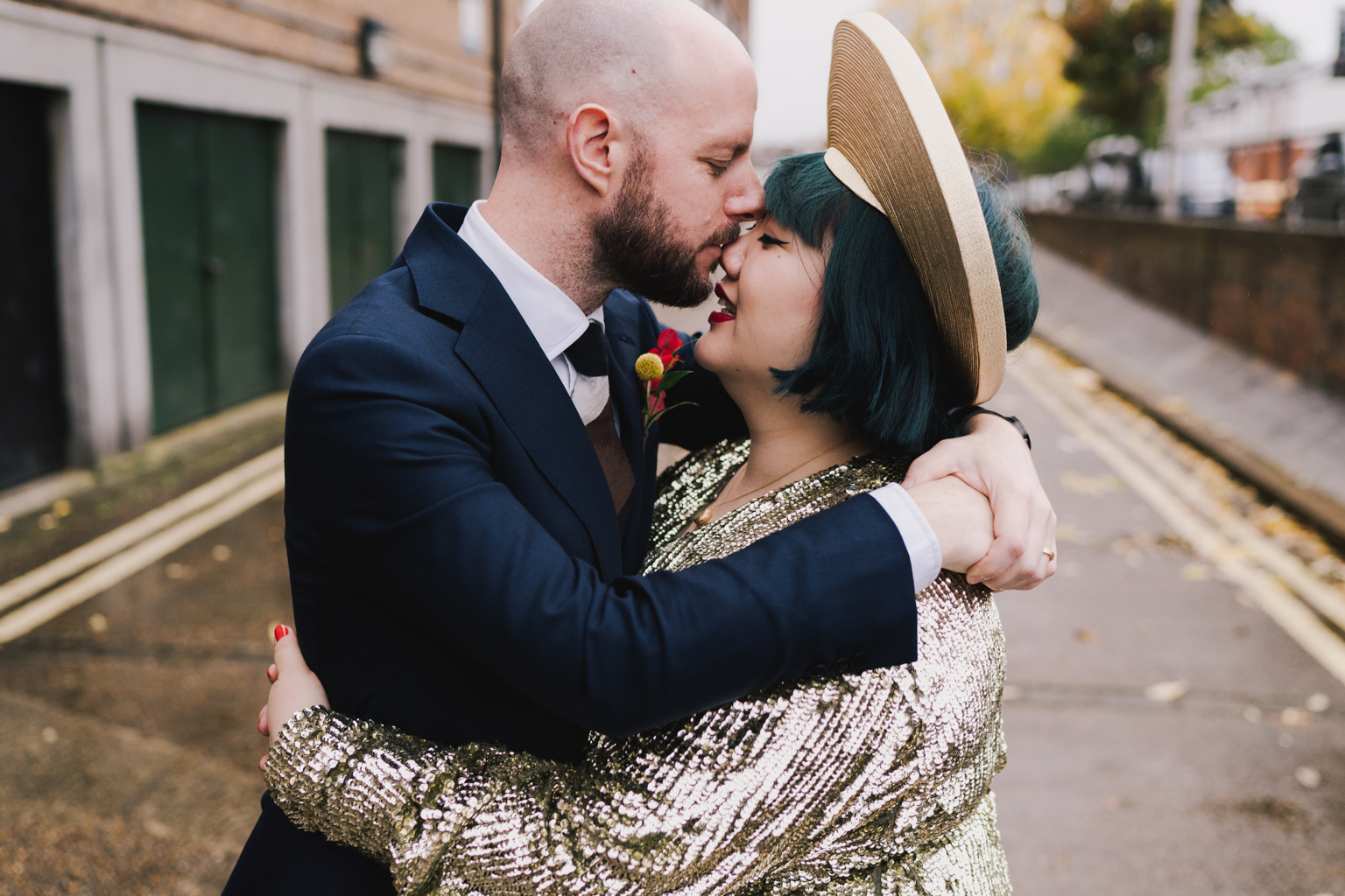 Groom kissing bride at South London Wedding by Lisa Jane Photography