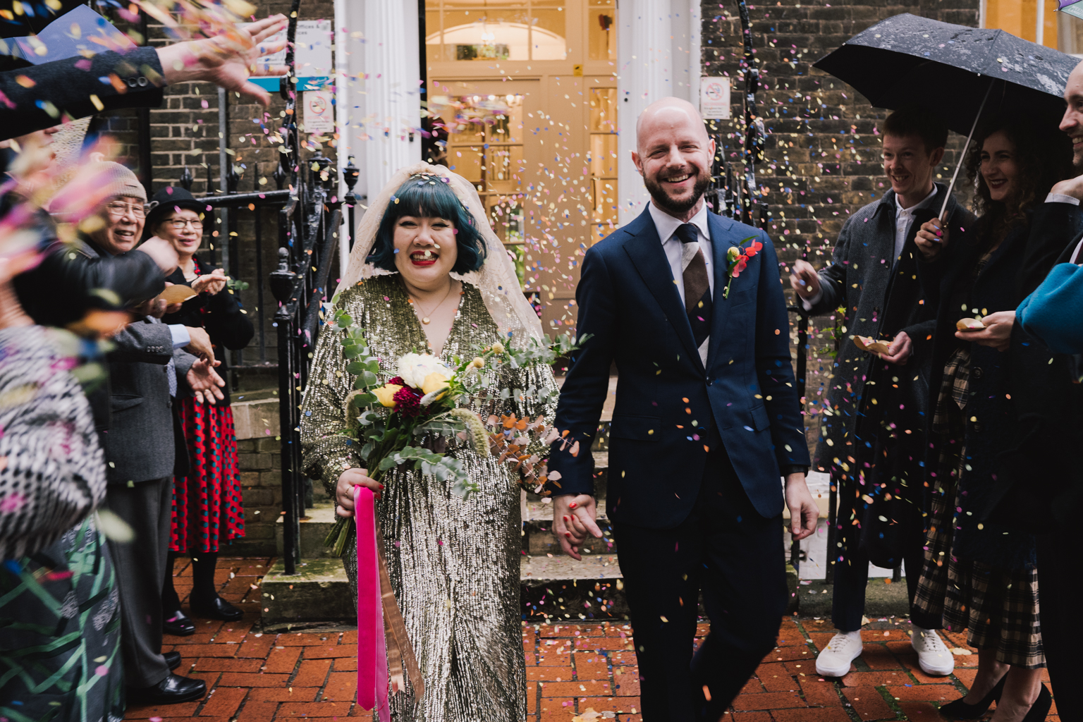 bride in gold sequin dress at a South London Wedding