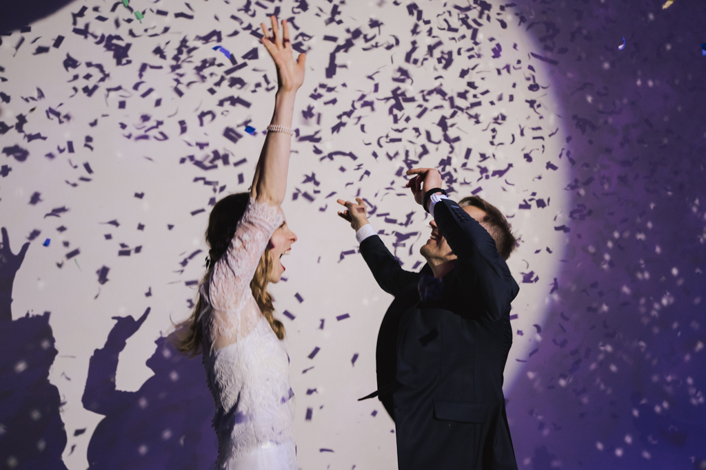 first dance with confetti canons at Shoreditch Studios