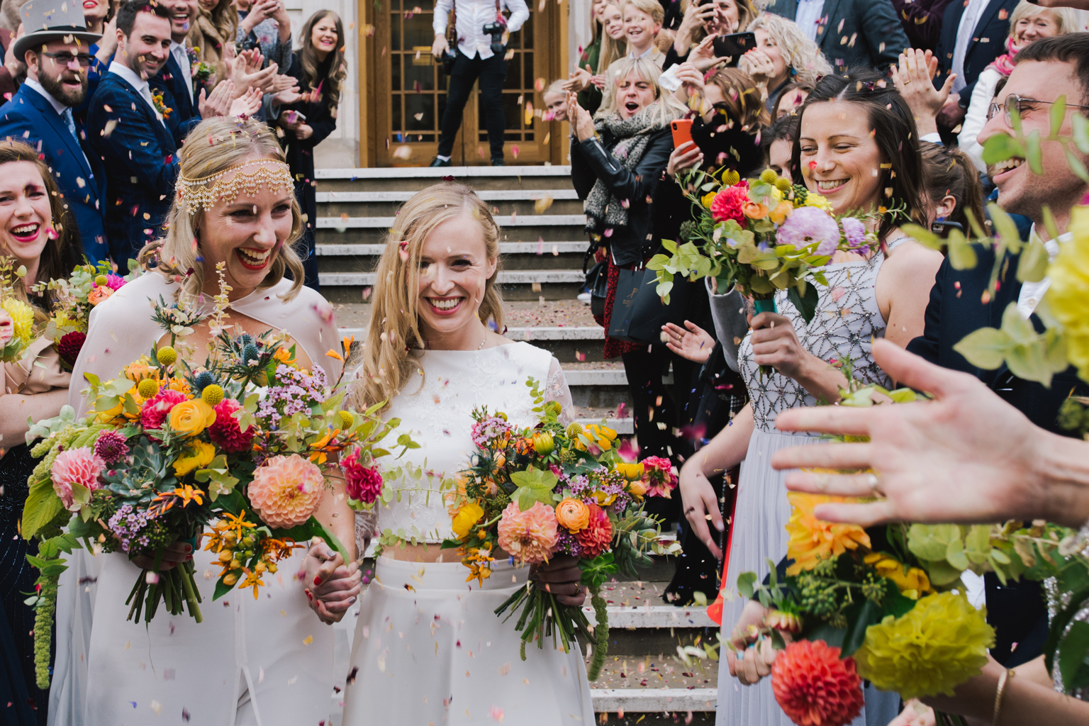 Confetti at hackney Town Hall Wedding by Lisa Jane Photography