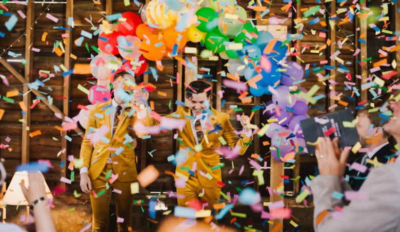 confetti at the Barns at Lodge Farm Wedding by Lisa Jane Photography
