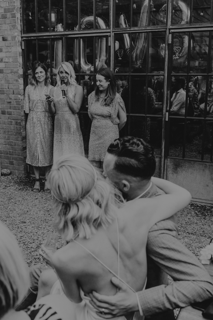 Speeches at London brewery wedding by Lisa Jane Photography